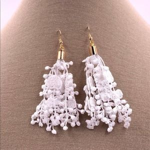 White lace earrings gold cap and hook